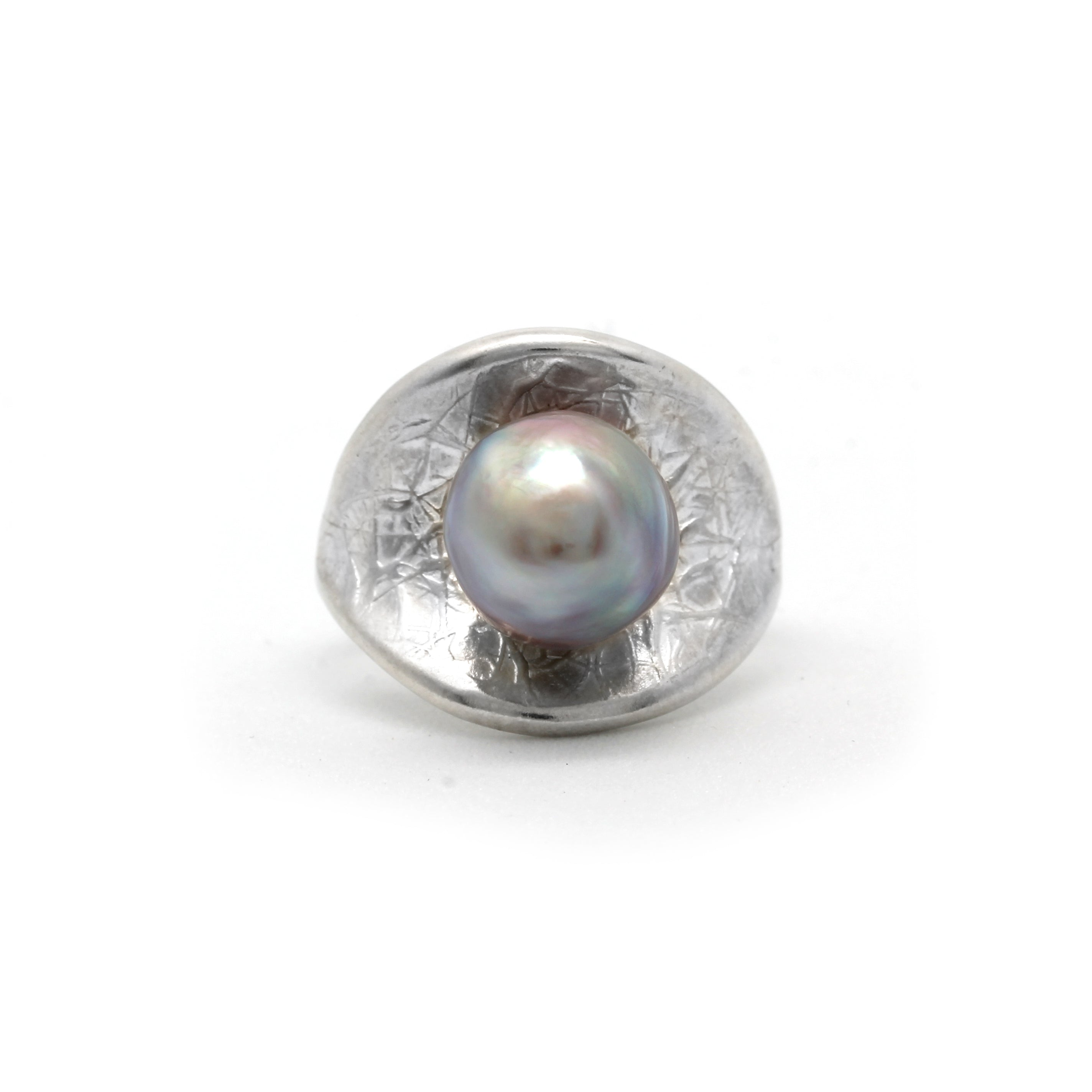 """Mars"" Silver Ring with Cortez Pearl - Size 7.5"