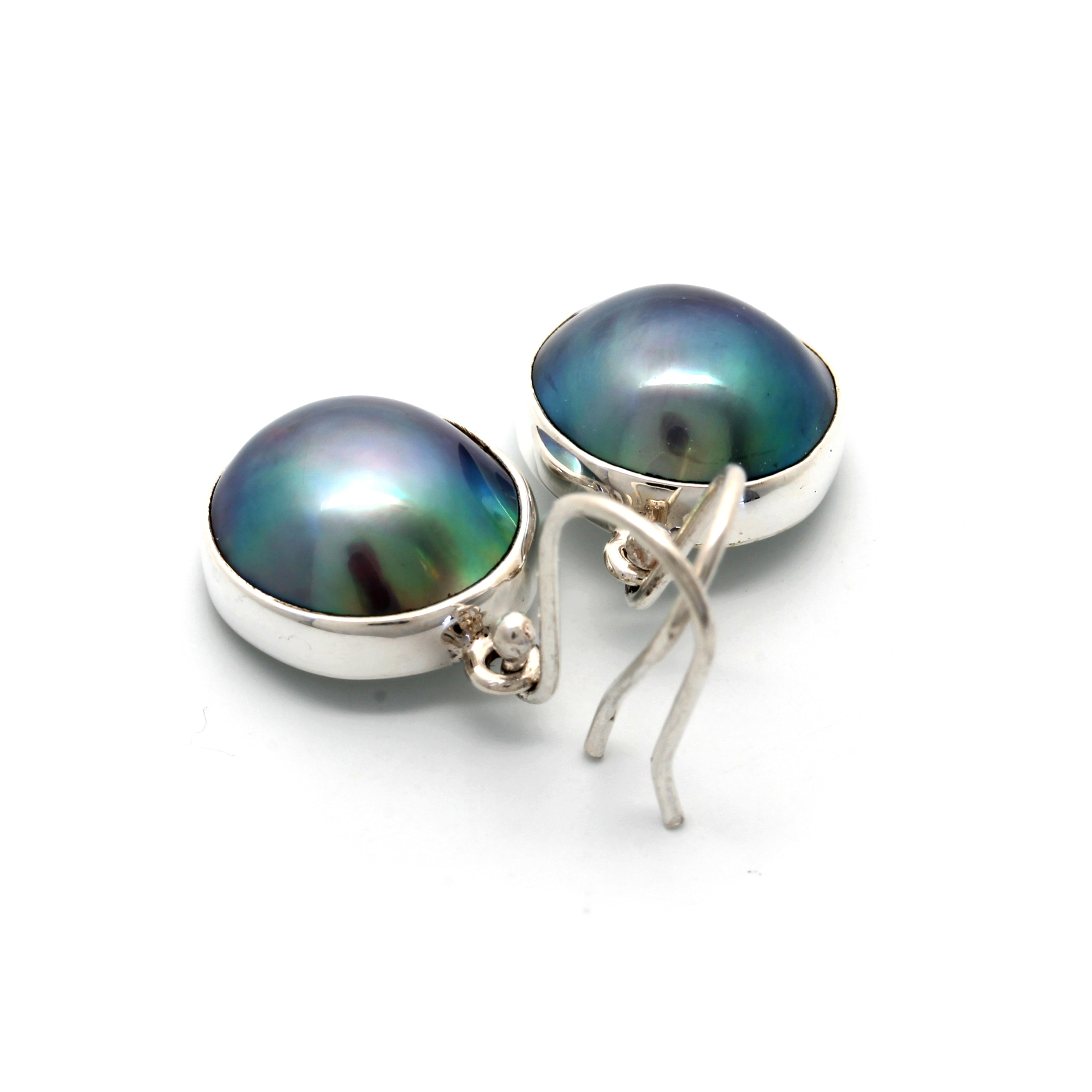 "Silver Earrings with ""A-A-A"" Cortez Mabe Pearls"