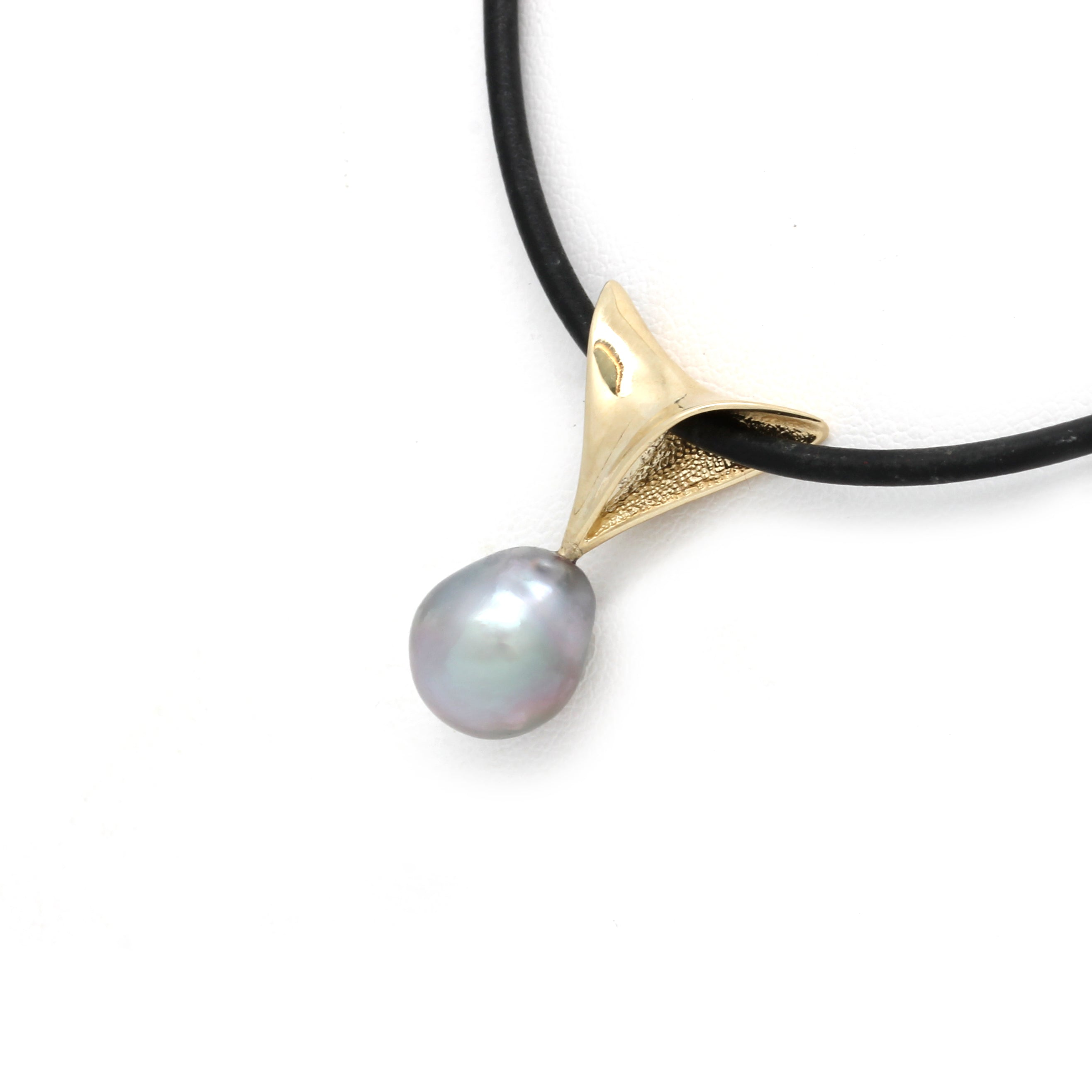 """Ventus"" 14K Yellow Gold Pendant with Cortez Pearl"