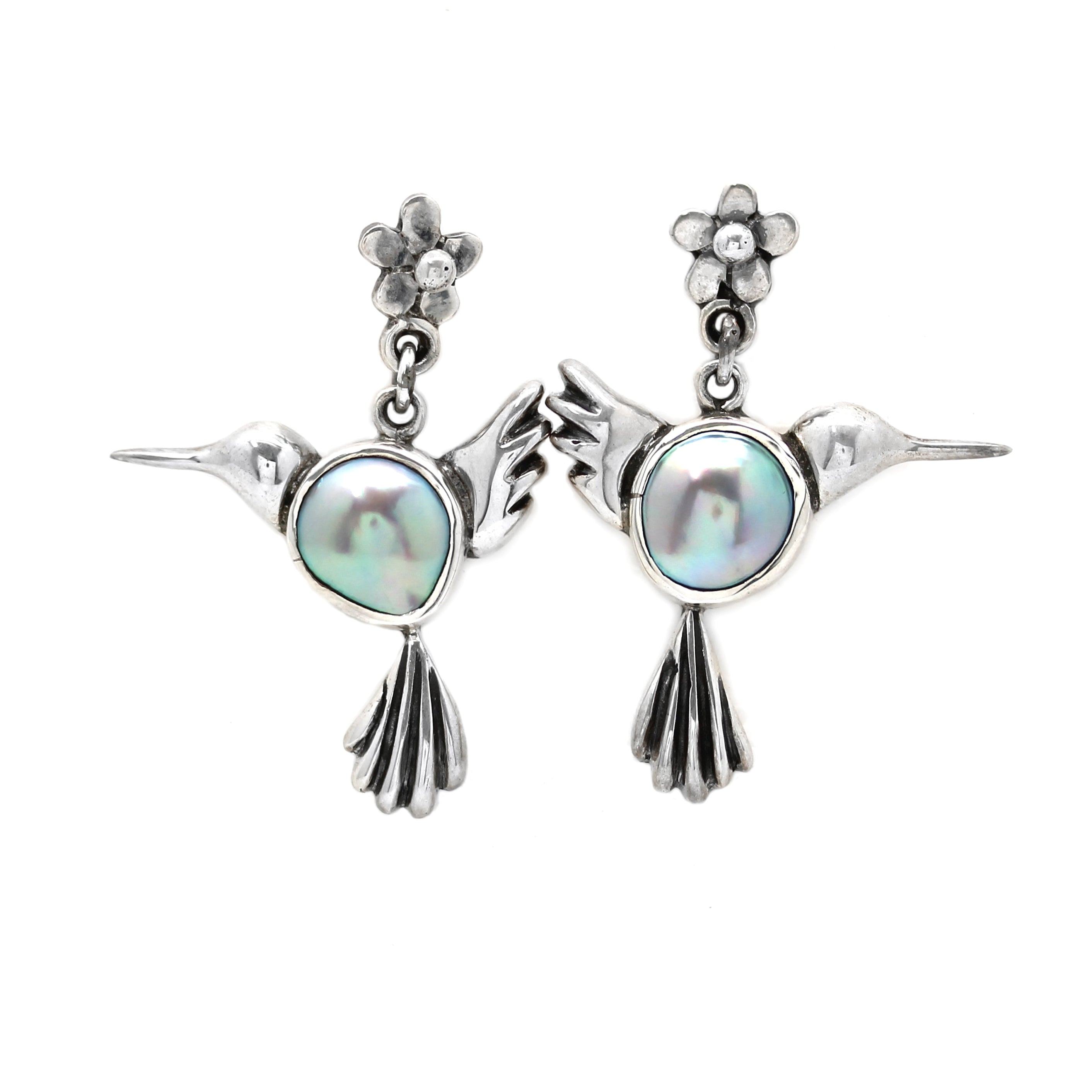 """Hummingbird"" Silver & Cortez Mabe Earrings"