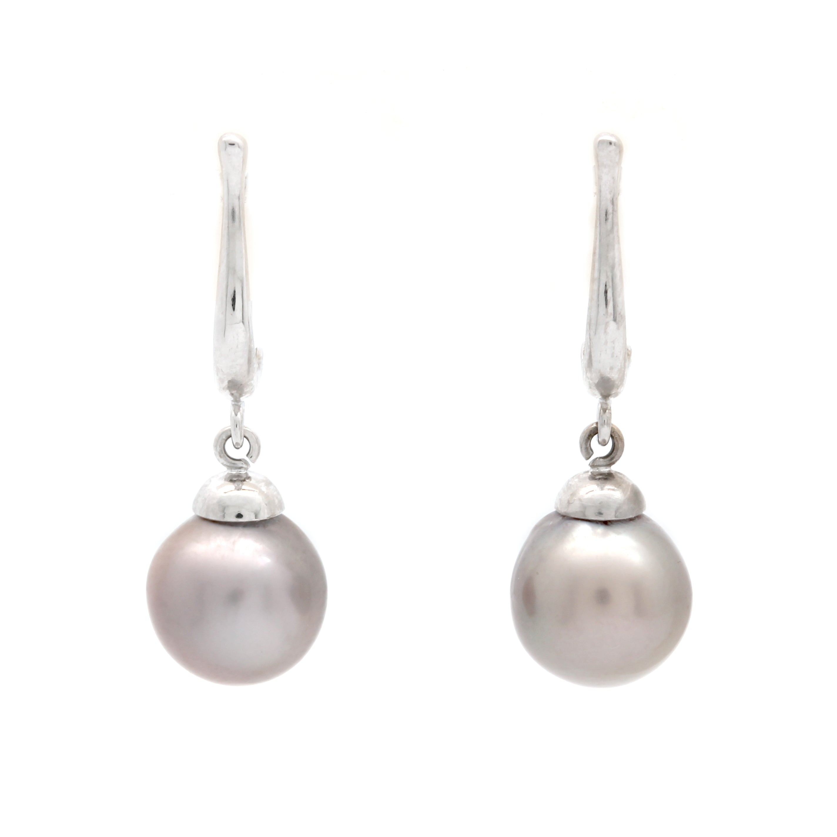 """Lyre"" 14K White Gold Earrings with Cortez Pearls"