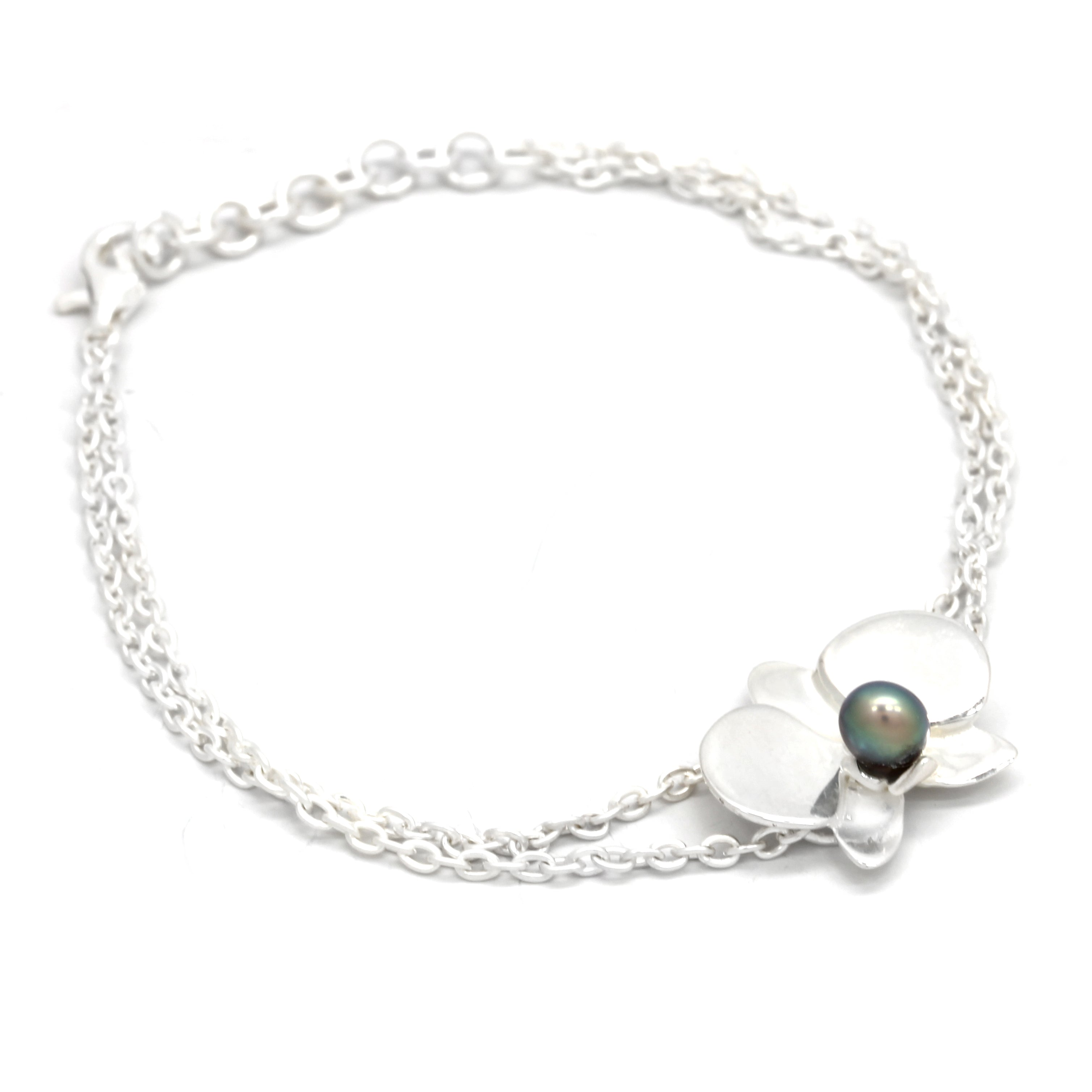 ORCHID: Silver Bracelet with Keshi Cortez Pearls