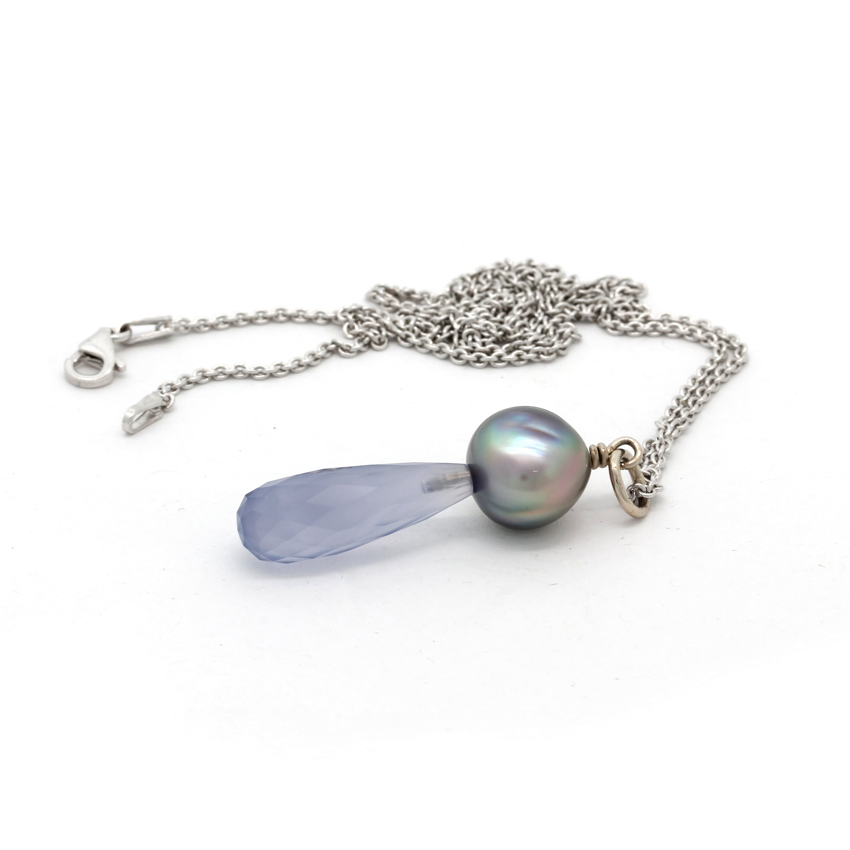 White Gold Pendant with Cortez Pearl and Blue Caledonite