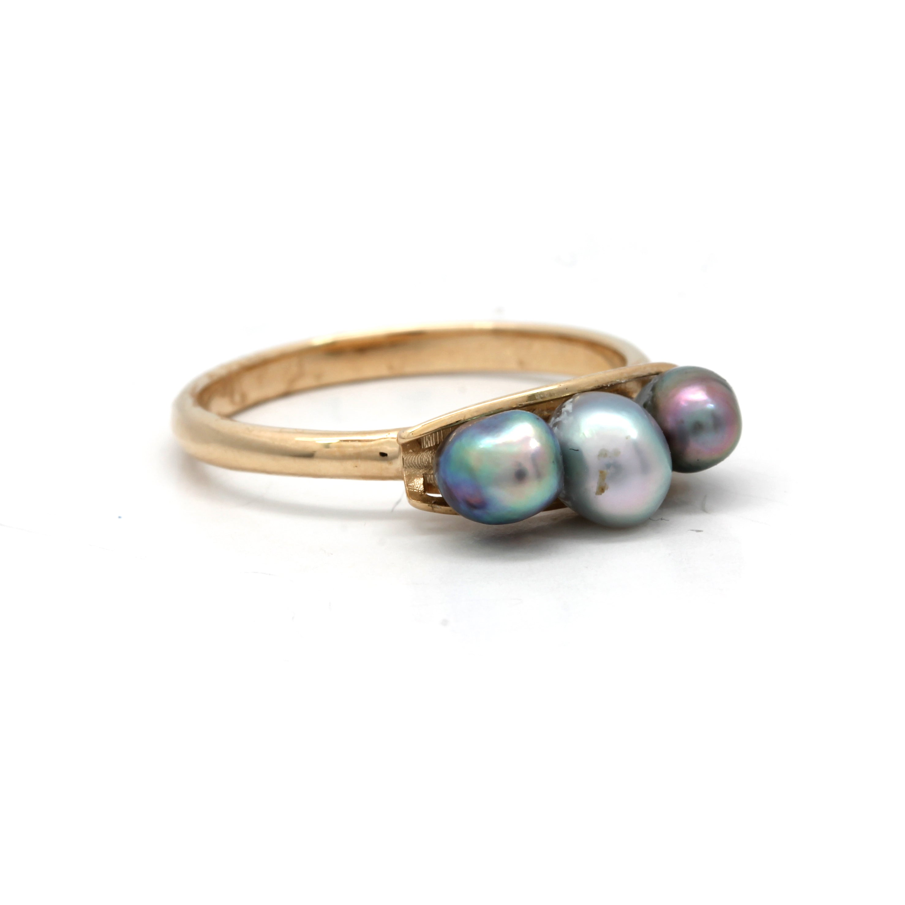 14K Gold Ring with 3 Cortez Keshi Pearls