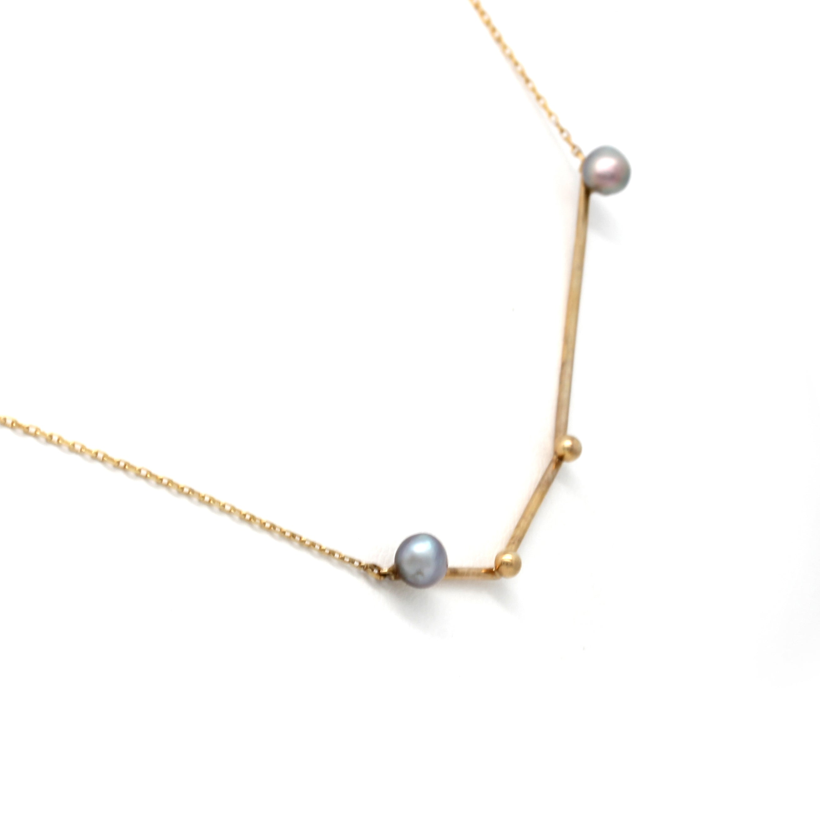 """Aries"" 14K Yellow Gold Pendant and Chain with Cortez Keshi Pearls"