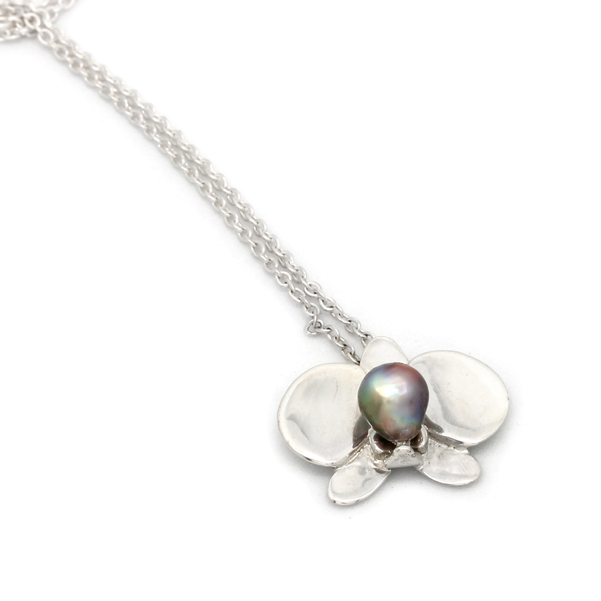 ORCHID: Silver Necklace with Keshi Cortez Pearls