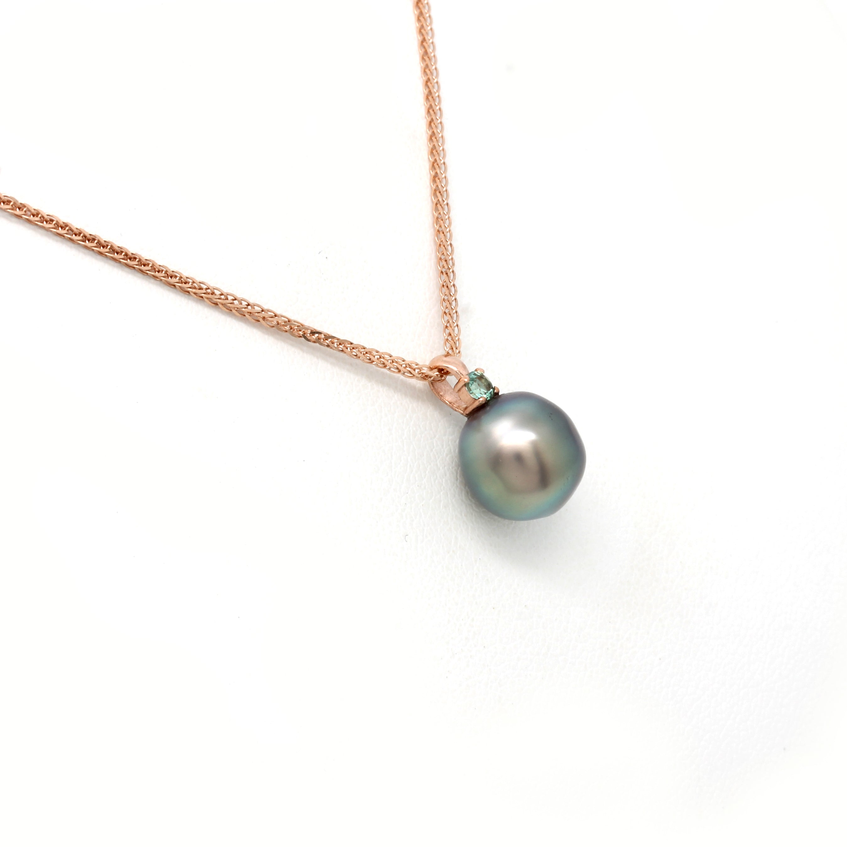 14K Rose Gold Chain with Tourmaline and a Sea of Cortez Pearl