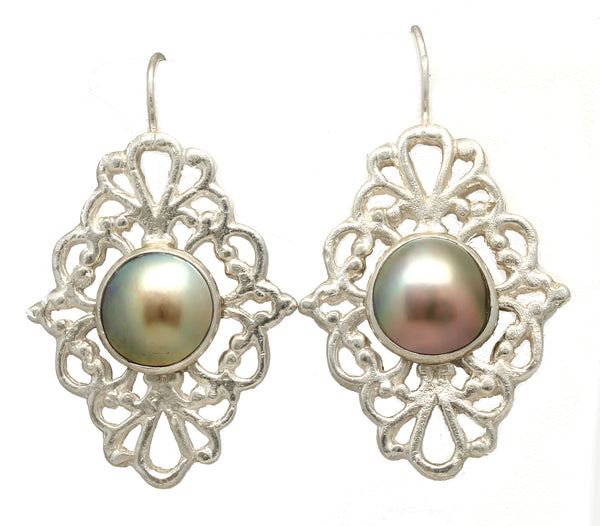 """Victorian"" Mabe Pearl Earrings by Tania María - Aretes ""Victorian"" de Tania María GP893"