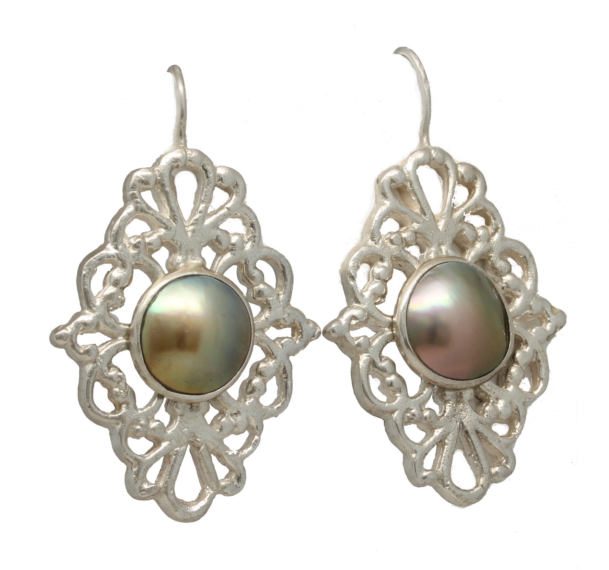"""Victorian"" Mabe Pearl Earrings by Tania María"