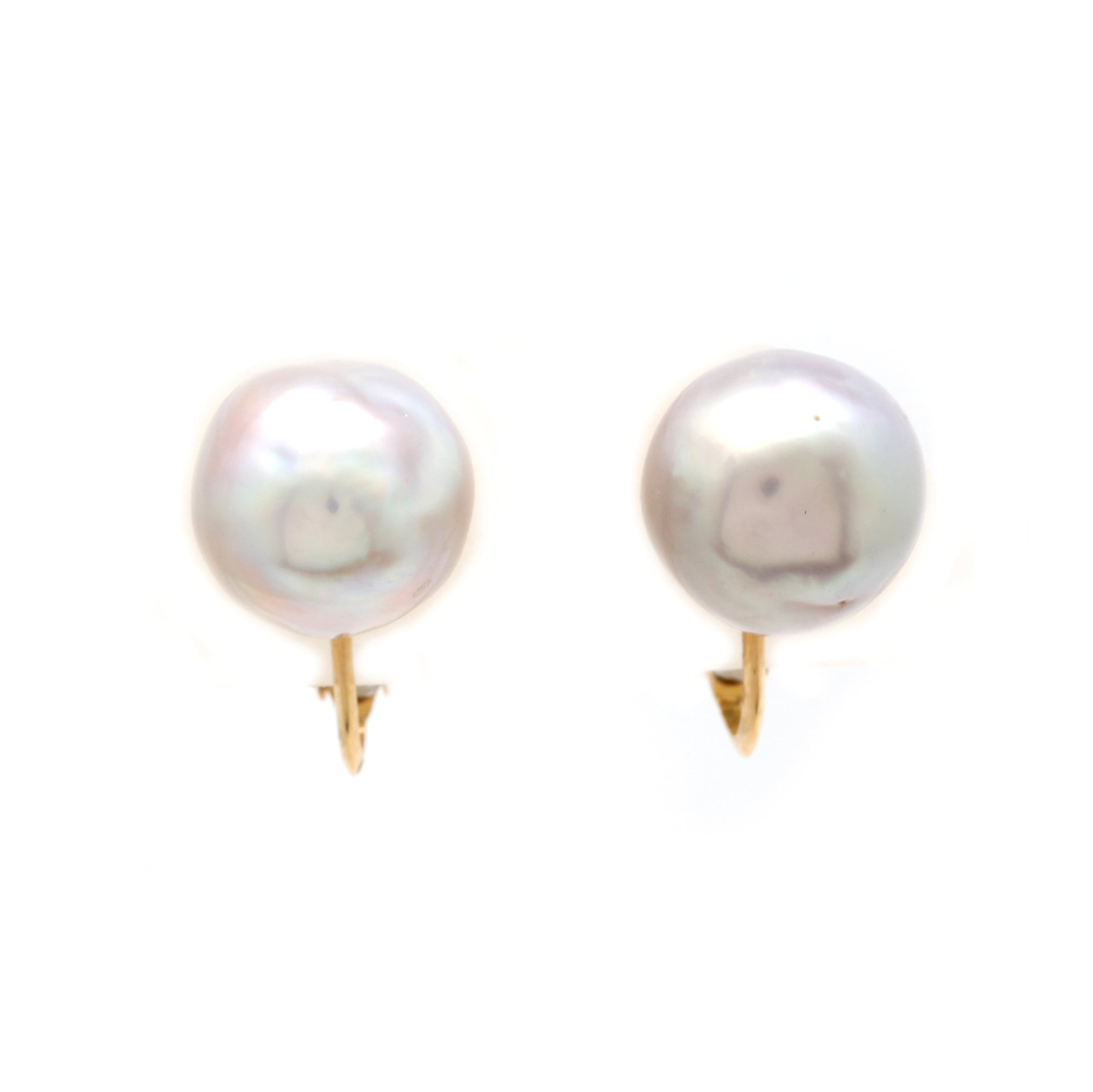 18K Yellow Gold Clip Earrings with Cortez Pearls