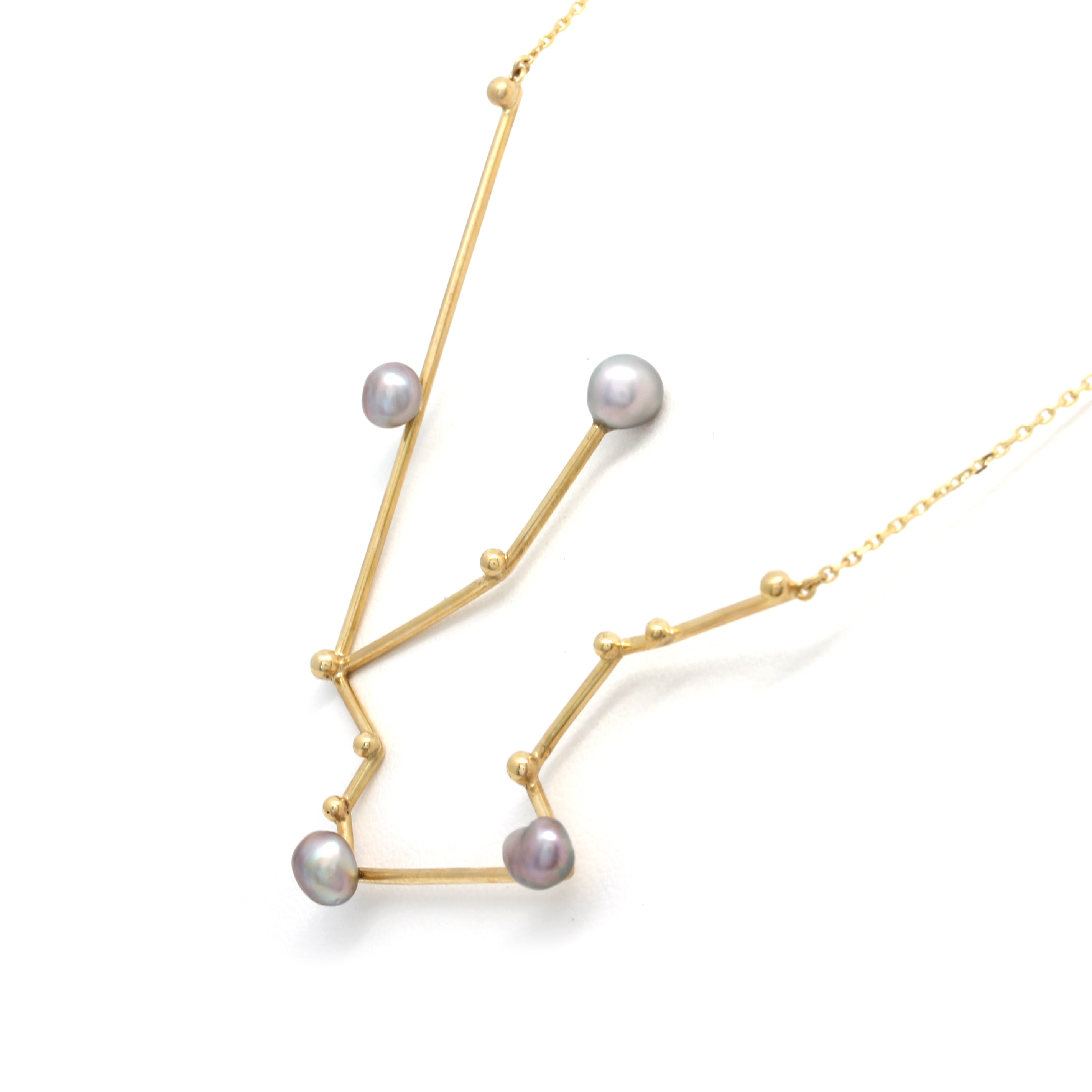 """Aquarius"" 14K Yellow Gold Pendant and Chain with Cortez Keshi Pearls"