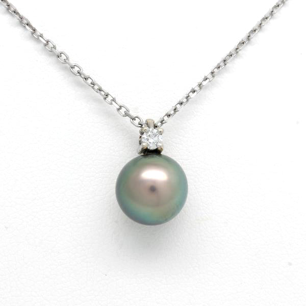 14K White Gold Chain with Diamond and a Sea of Cortez Pearl