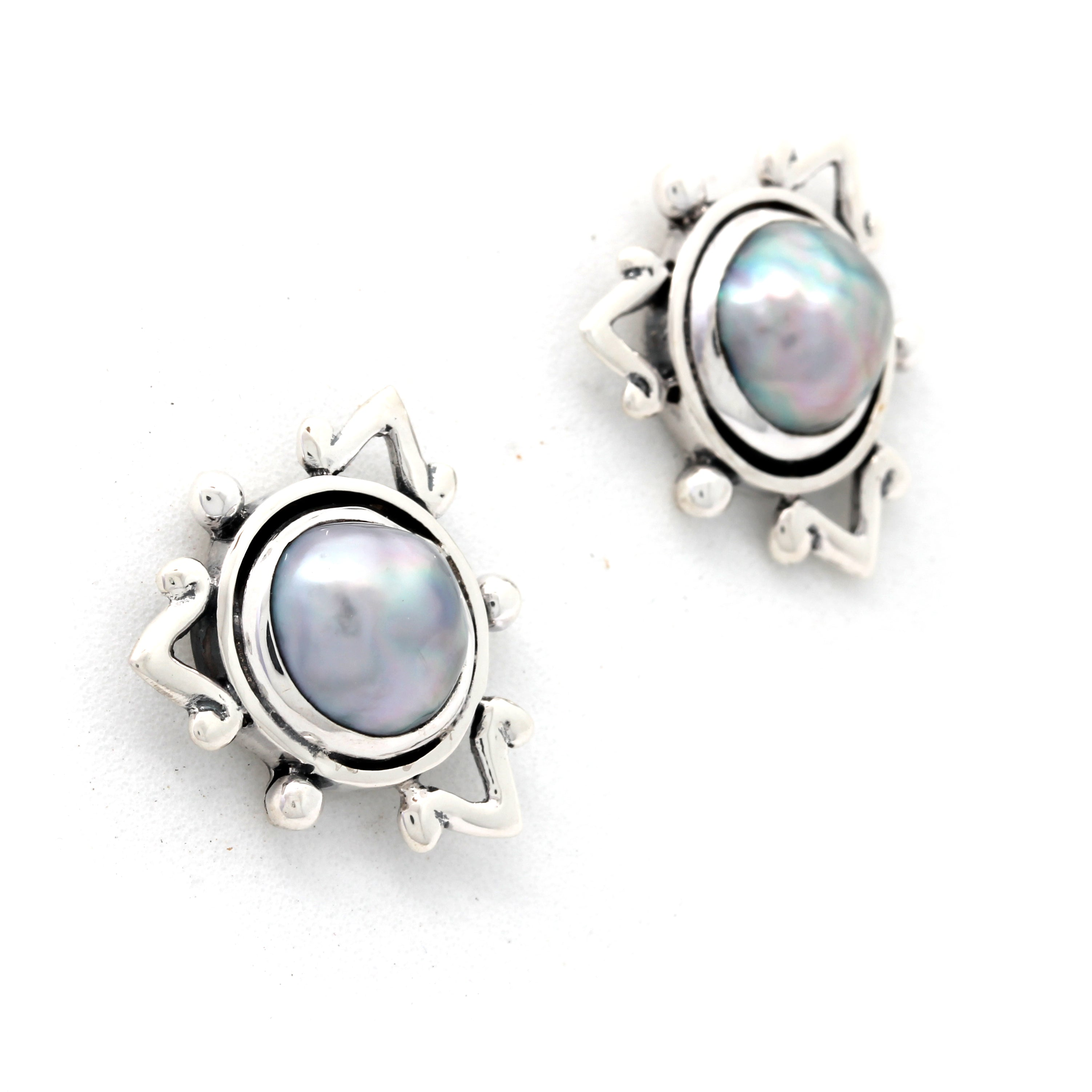 Silver Earrings with Cortez Mabe Pearls by Priscila Canales