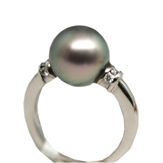 Premium White Gold Ring with stunning Cortez Pearl & Diamonds - Anillo Premium con increíble Perla Gema y diamantes en Oro Blanco de 14K