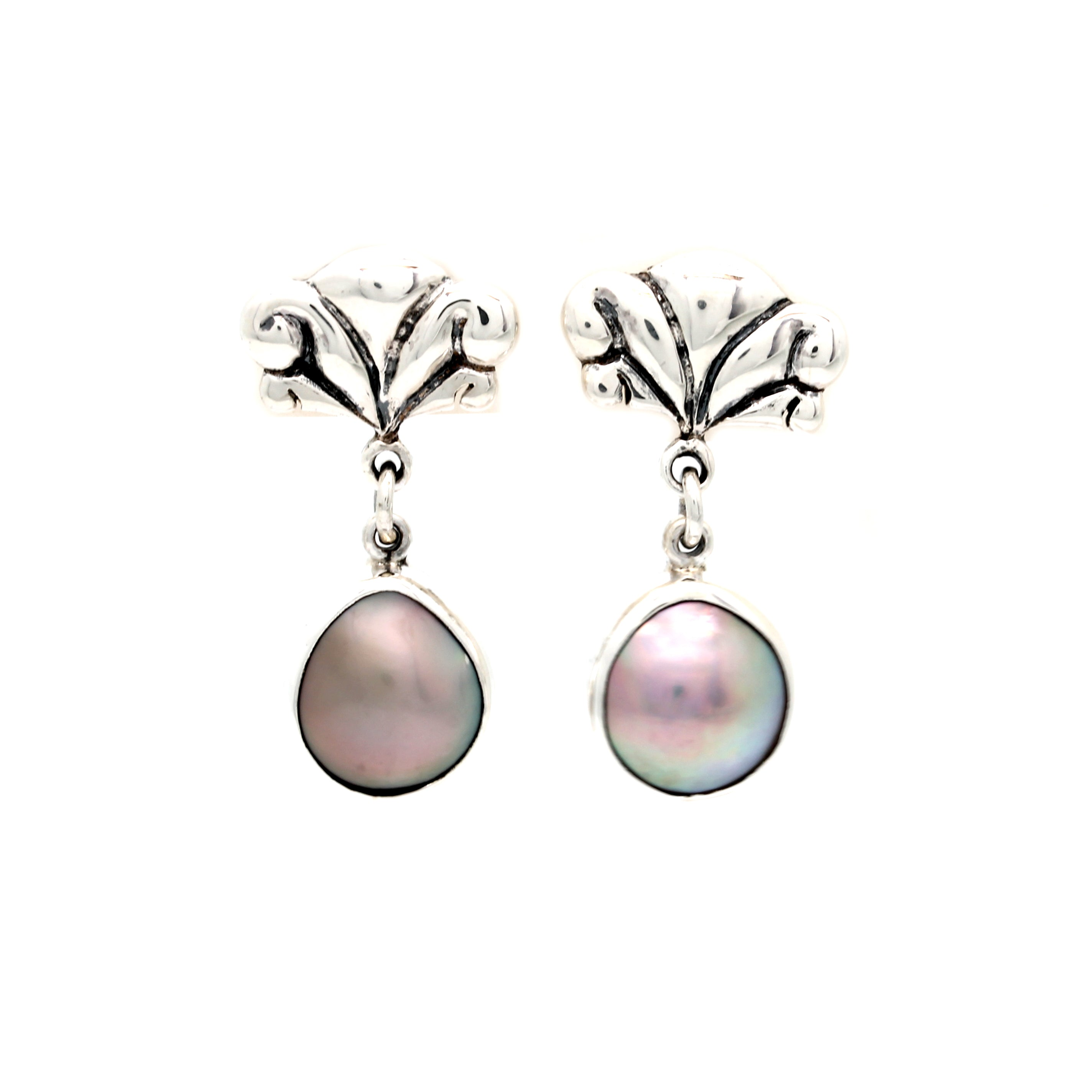 Silver Earrings with Cortez Mabes by Priscila Canales