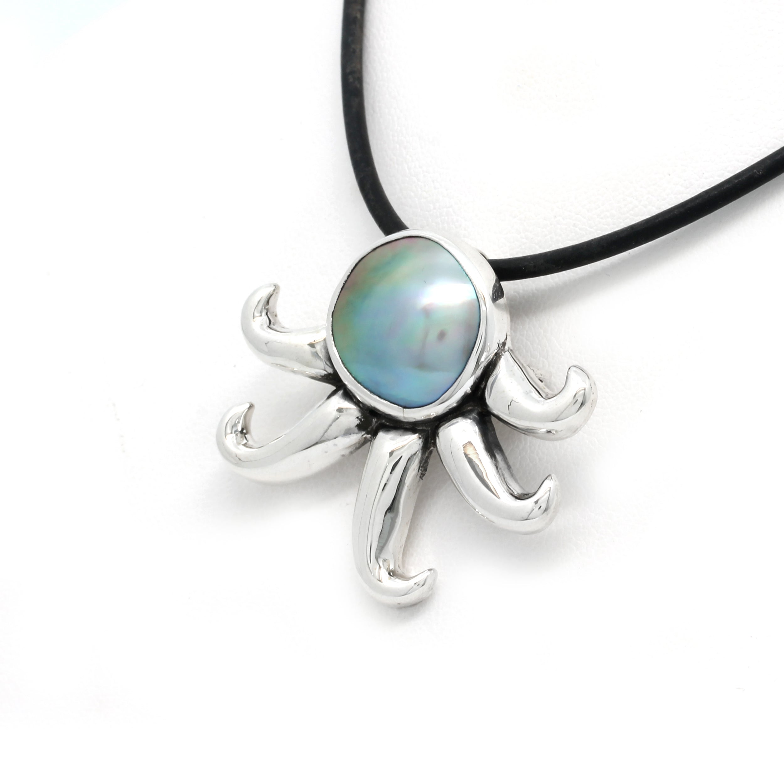 """Octopus"" Silver Brooch/Pendant with Cortez Pearl by Priscila Canales"