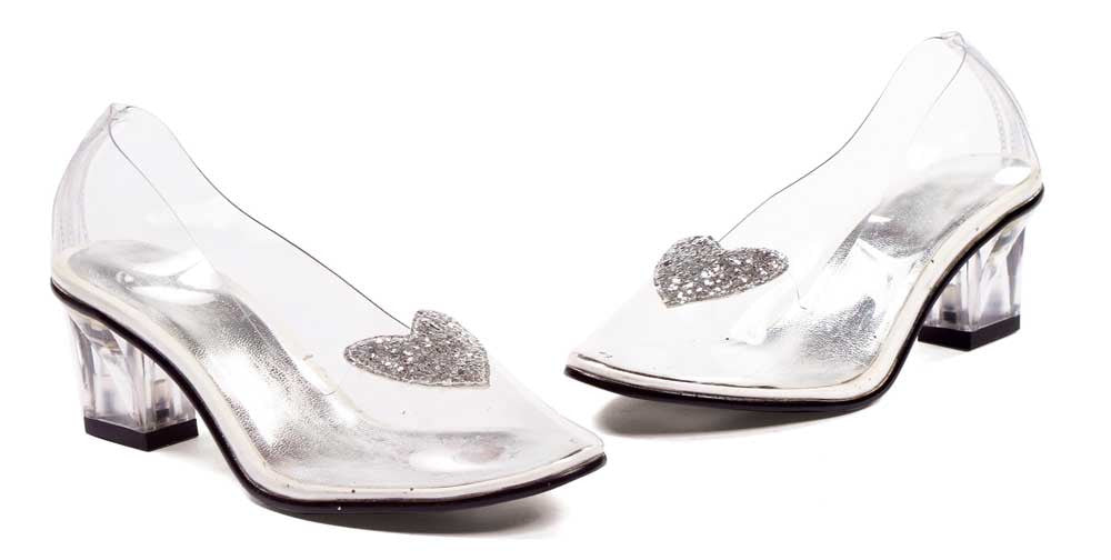 "2"" Heel Clear with silver glitter heart slipper Childrens."