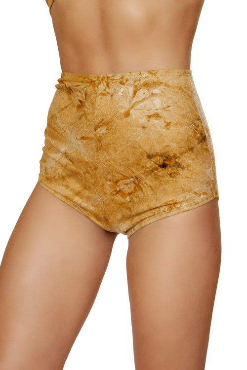 3586 - 1pc Brown Tie Dye Suede High-Waisted Shorts