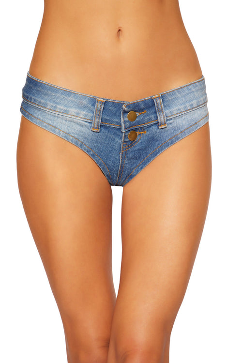 281132870b 3773 - Denim Jean Shorts with Belt Loop and Button Front Detail
