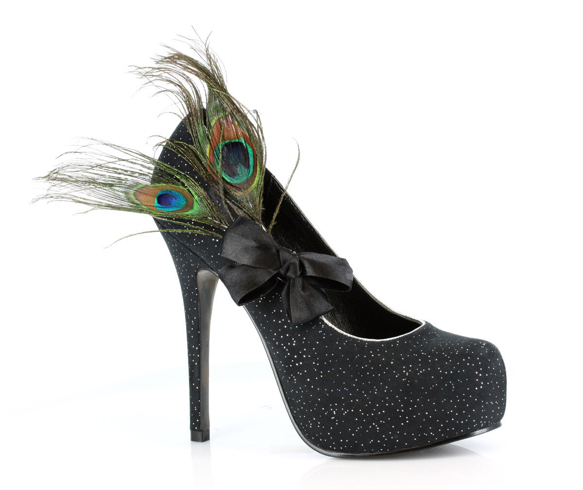 "5"" Heel with detachable peacock plume and bow"