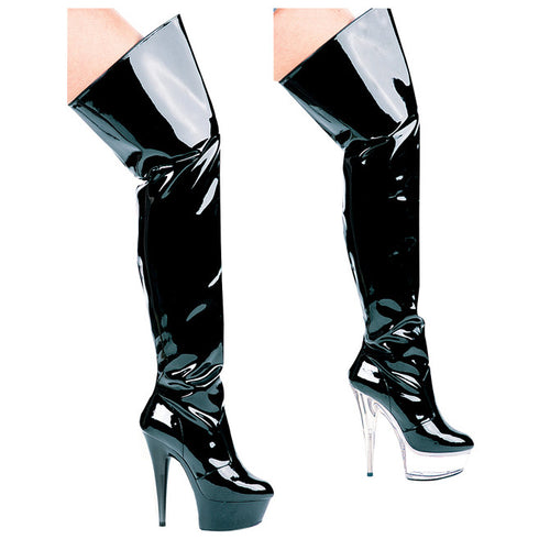 "6"" Heel Pointed Stilletto Thigh High Boots."