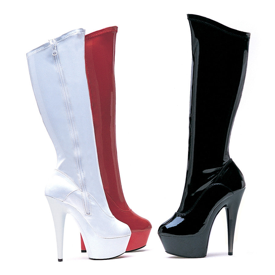 "6"" Pointed Stiletto Stretch Knee Boot W/Zipper."
