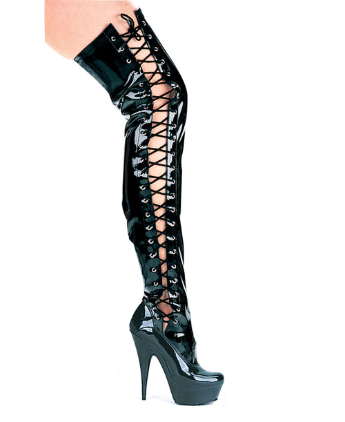 "6"" Pointed Stiletto Thigh High stretch Boots W/Side Laces."
