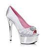 "6"" Satin Peep Toe Chrome Platform W/RhineStone Buckle"