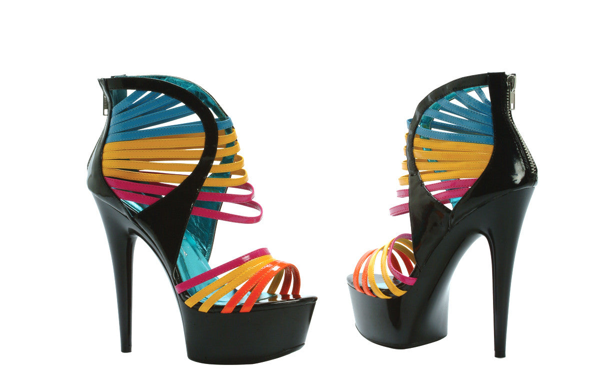 "6"" Platform Multi Color Straps"