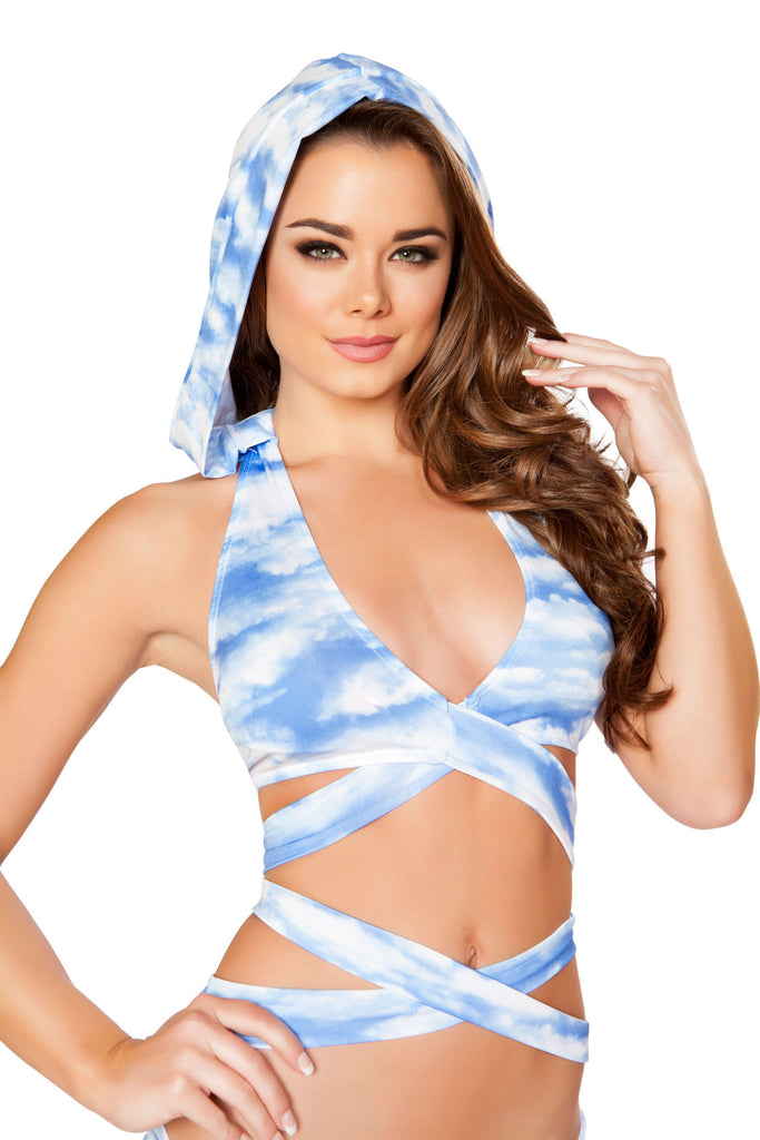 T3334 & T3268 - Printed Detachable Hooded Wrap Around Halter Top