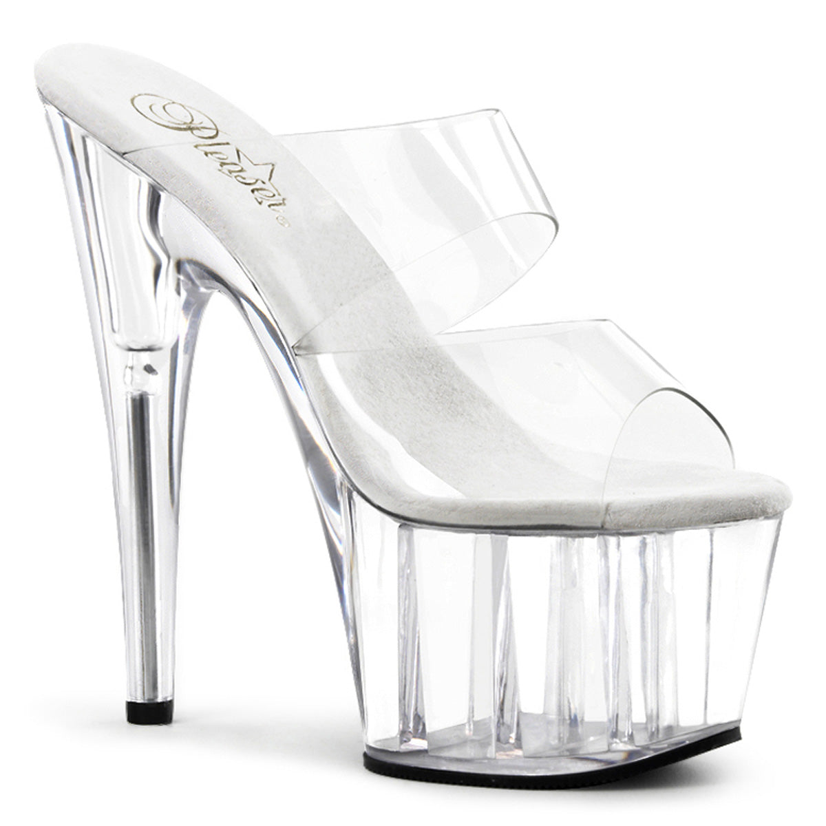 "7"" Heel, 2 3/4"" PF Slide, Two-Band Clear Straps"