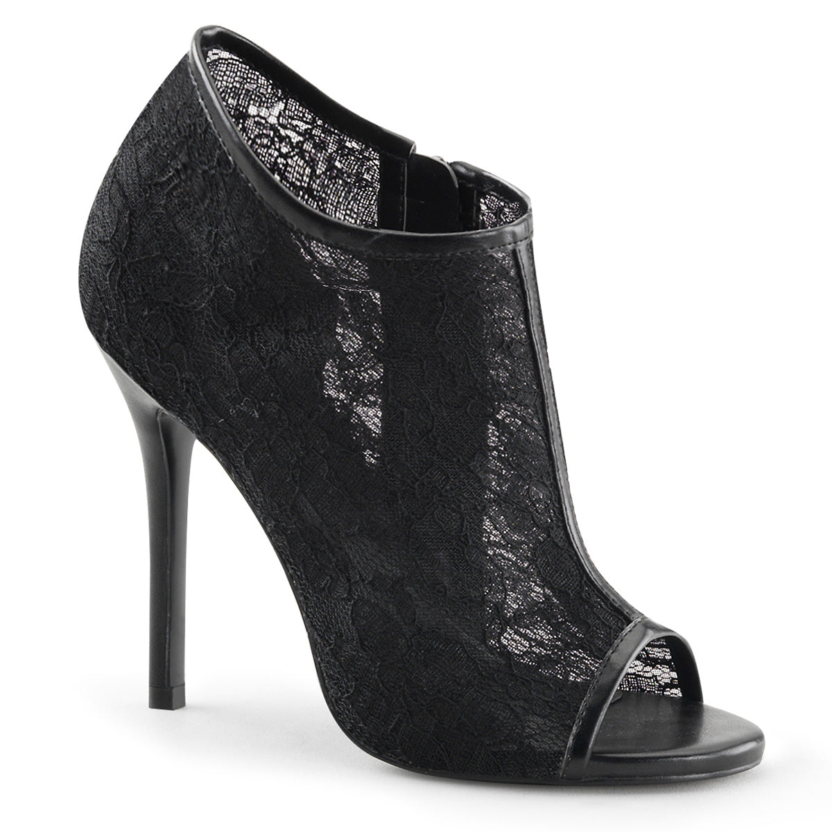 "5"" Heel, Open Toe Bootie w/ Lace Overlay Lace Mesh"
