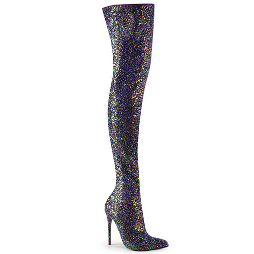 "5"" Glitter Thigh High Boot, 1/3 Side Zip"