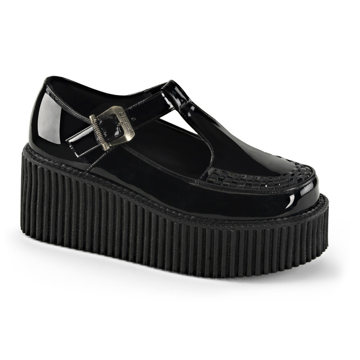 "3"" PF T-Strap Creeper w/Side Cutout & Buckle Detail"