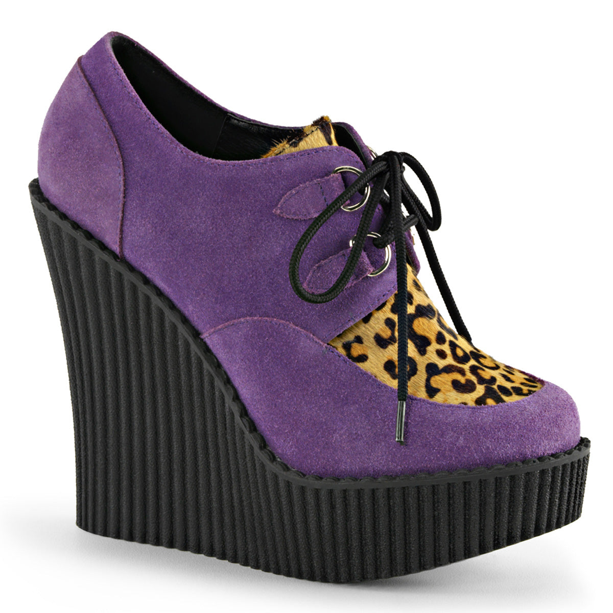 "5 1/4"" Wedge PF Lace-Up Creeper w/Leopard Print Accents"