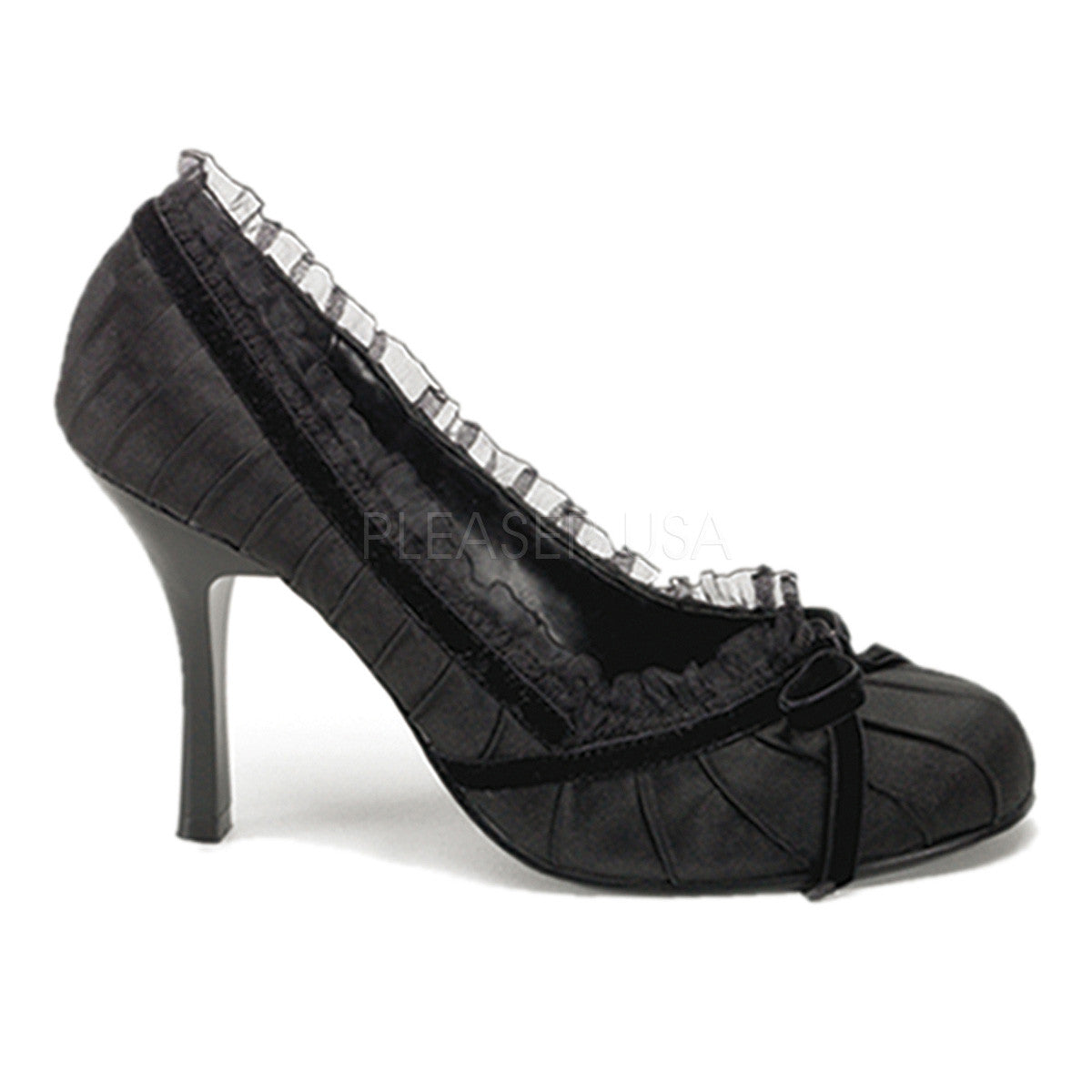 "1/2"" Heel, Blk Satin Pleated Girlie Pump"
