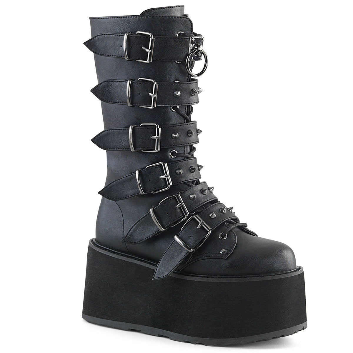 "3 1/2"" PF Mid-Calf Boot w/ 6 Buckle Straps, Metal Side Zip"