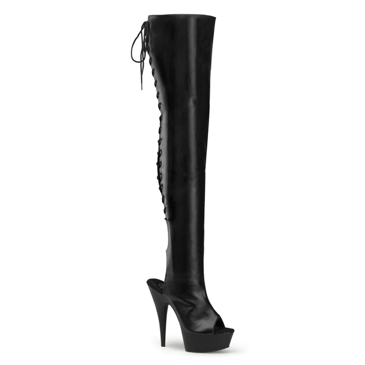 "6"" Heel, 1 3/4"" PF Thigh High Open Heel/Toe Lace Back Boot"