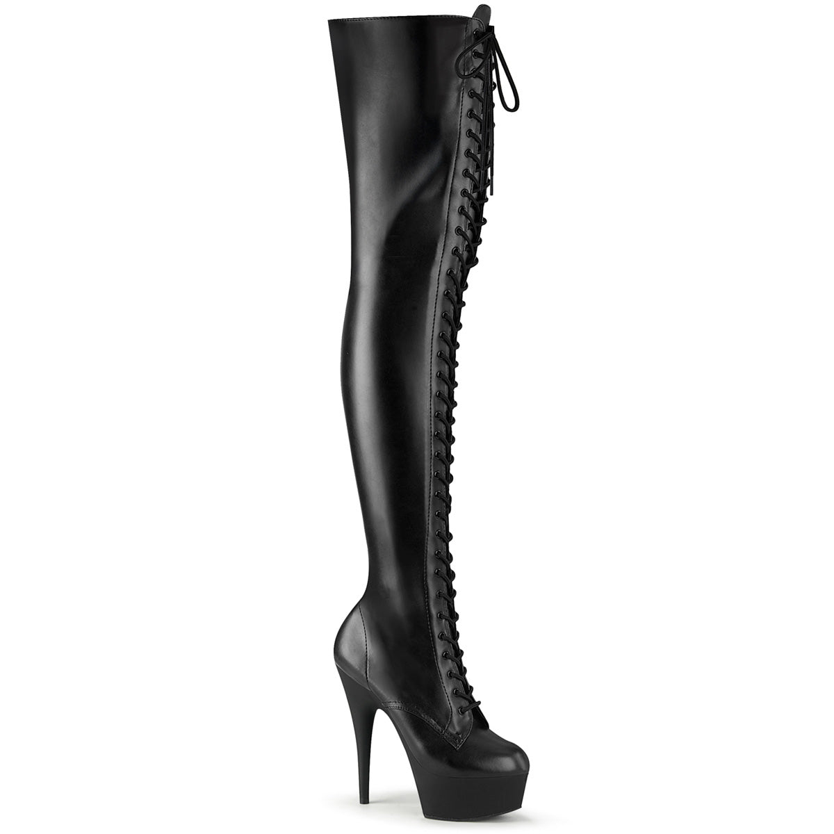 "6"" Heel, 1 3/4"" PF Lace-Up Stretch Thigh Boot, Side Zip"