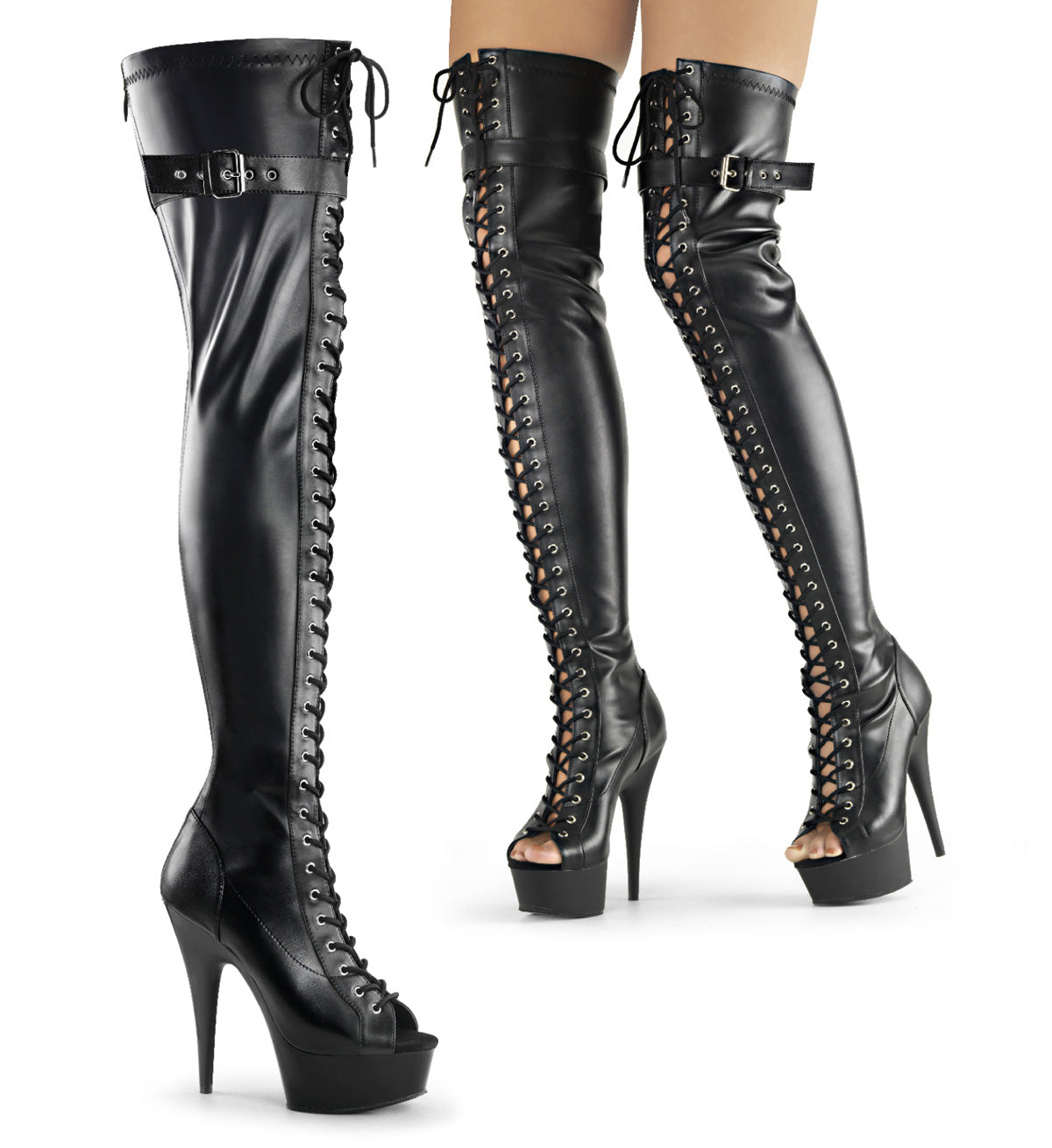 "6"" Heel, 1 3/4"" PF Peep Toe Lace-up Thigh Boot, Back Zip"