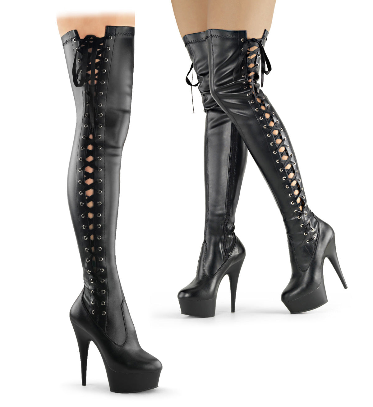 "6"" Heel, 1 3/4"" PF Thigh Boot w/Side Ribbon Lace, Side Zip"
