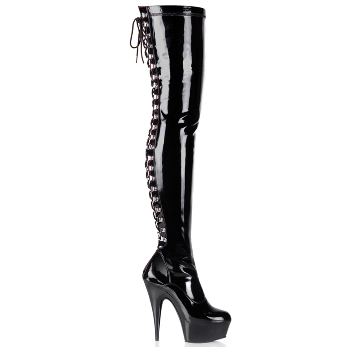 "6"" Heel, 1 3/4"" PF Back Lace Thigh Boot, Side Zip"