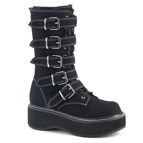 "2"" PF Mid-Calf Boot w/ 5 Buckle Straps, Metal Back Zip"