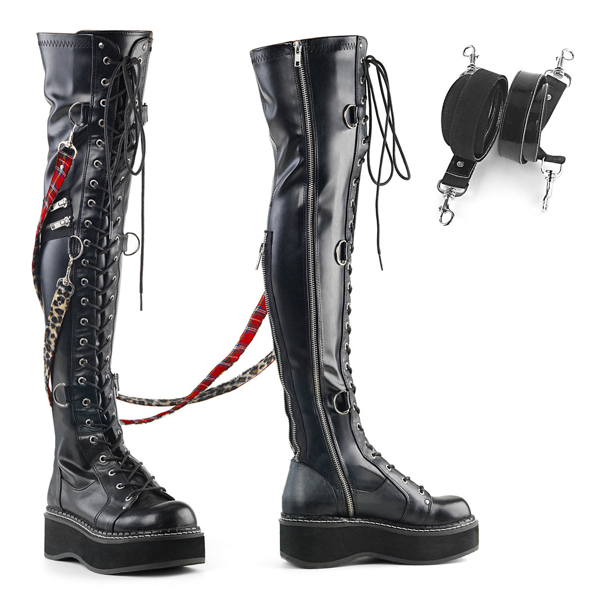 "2"" PF STR Over-the-Knee Lace-Up Boots, Side Zip"