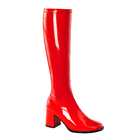 "3"" Block Heel Gogo Boots, Red Stretch Pat, Side Zip"
