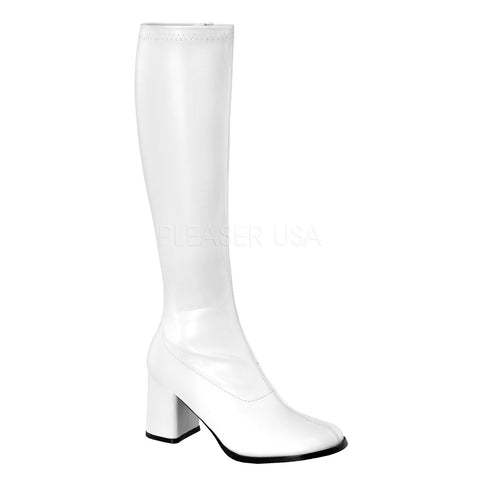 "3"" Block Heel Gogo Boots, White Stretch PU, Side Zip"