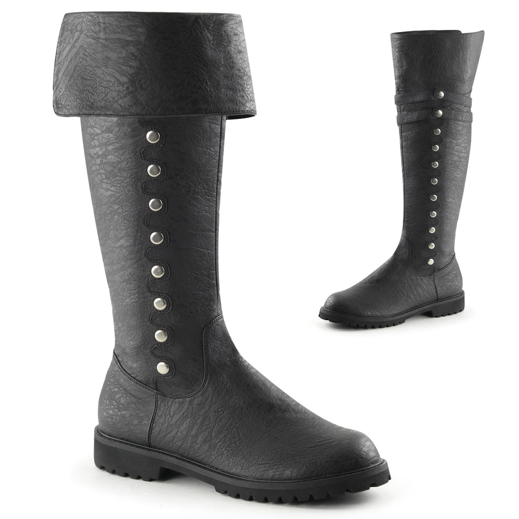 "1 1/2"" Men's Cuffed Knee High Boot w/ Faux Button Detail"