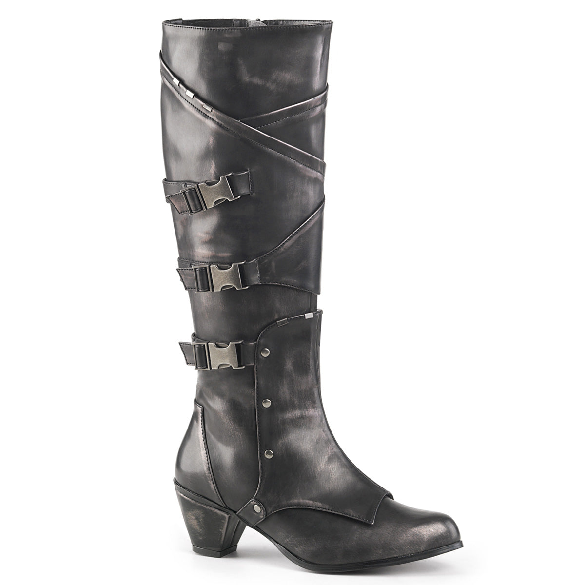 "2 1/2"" Block Heel Knee High Boot W/ Buckle Strap, Side Zip"