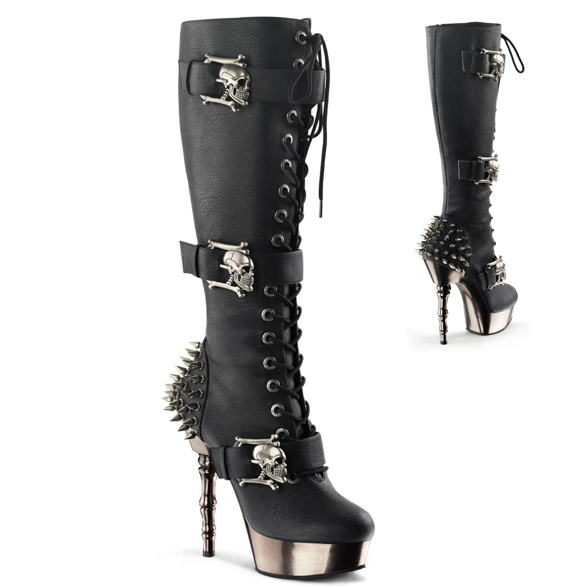 "5 1/2"" Finger Bone Heel, 1 1/2"" PF Lace Up Knee High Boot"