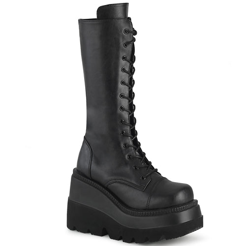 "4 1/2"" Wedge PF Lace-Up Mid-Calf Boot, Side Zip"